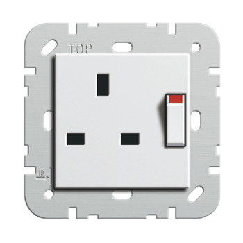 Socket Insert, 13A , Standard, with Switch or with Switch and Neon Light, 71-80 mm, Gira