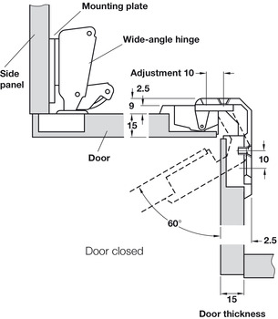 Specialist Hinge, 150°, Pie-Cut Corner Hinge, Screw Fixing