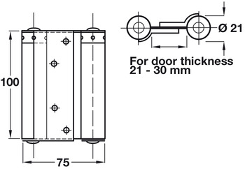 Spring Hinge, Double Action, 100 x 75 mm, Steel