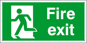 Standard Fire Sign, Fire Exit, 400 x 200 mm, Rigid Plastic