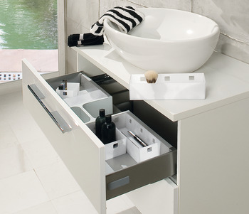 Storage System for Under Sink Drawers, Additional Fixing Rail for Storage Trays, Ninka Banio