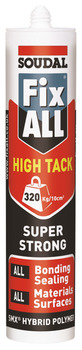 Super Strong Sealant and Adhesive, SMX Hybrid Polymer, Tube 290 ml, Soudal Fix All High Tack