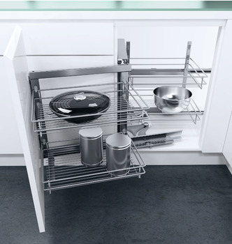 Swing Out Corner Storage, Classic Silver Linear Wire Baskets, Vauth-Sagel VS COR Fold