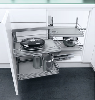 Swing Out Corner Storage, Premea Grey Solid Base Silver Wire Baskets, Vauth-Sagel VS COR Fold