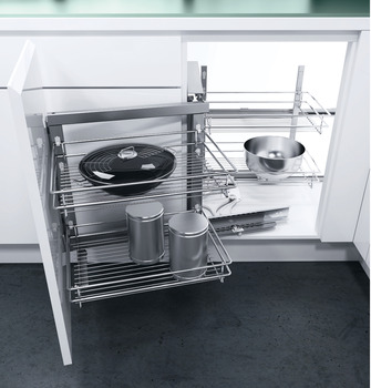 Swing Out Corner Storage Unit, Classic Chrome Linear Wire Baskets,  Automatic Pull Out Action
