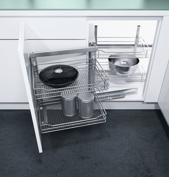 Swing Out Corner Storage Unit, Saphir Mesh Chrome Wire Baskets, Automatic Pull Out Action, Vauth-Sagel VS COR Fold