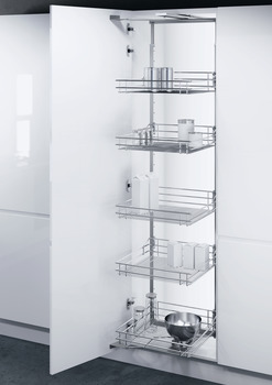 Swing Out Larder Unit , Complete Set, For Cabinet Width 300-400 mm, Height Adjustable, Centre Mounting, with Classic Chrome Linea Wire Baskets, Vauth-Sagel VS TAL Gate N
