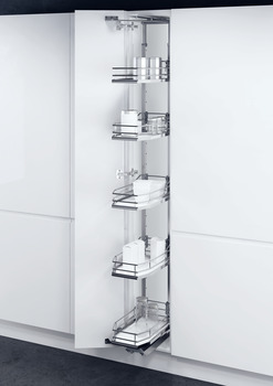 Swing Out Larder Unit , Complete Set, For Cabinet Width 300-400 mm, Height Adjustable, Centre Mounting, with Premea Solid White Base Chrome Wire Baskets, Vauth Sagel VS TAL Gate N