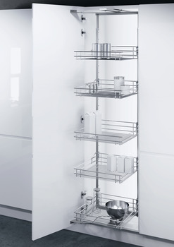 Swing Out Larder Unit , Complete Set, For Cabinet Width 500-600 mm, Height Adjustable, Centre Mounting, with Classic Chrome Linear Wire Storage Baskets, Vauth-Sagel VS TAL Gate