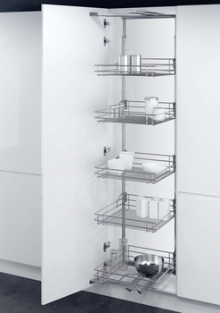 Swing Out Larder Unit , For Cabinet Width 300-400 mm, Classic Silver Linear Wire Basket, Vauth-Sagel VS TAL Gate N