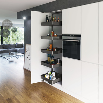 Swing Out Larder Unit , For Cabinet Width 300-400 mm, Planero Lava Grey Baskets, Vauth-Sagel VS TAL Gate N
