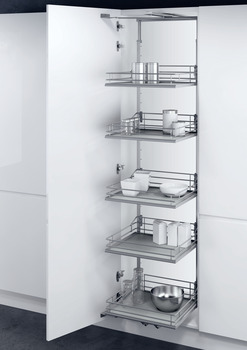 Swing Out Larder Unit , For Cabinet Width 300-400 mm, Premea Solid Grey Base Silver Wire Baskets, Vauth-Sagel VS TAL Gate N