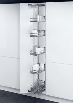 Swing Out Larder Unit , For Cabinet Width 300-400 mm, Saphir Mesh Chrome Wire Baskets, Vauth-Sagel VS TAL Gate N