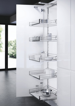Swing Out Larder Unit, For Cabinet Width 500-600 mm, Artline Glass Side Baskets, VS TAL Gate