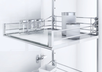 Swing Out Larder Unit , For Cabinet Width 500-600 mm, Artline Glass Sided Chrome Wire Baskets, Vauth-Sagel VS TAL Gate