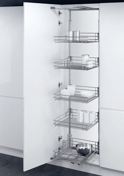 Swing Out Larder Unit , For Cabinet Width 500-600 mm, Classic Silver Linear Wire Storage Baskets, Vauth-Sagel VS TAL Gate