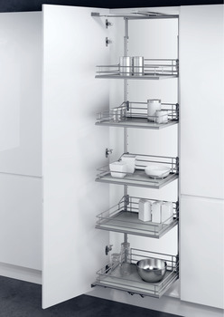 Swing Out Larder Unit, For Cabinet Width 500-600 mm, Premea Solid Base Baskets, VS TAL Gate