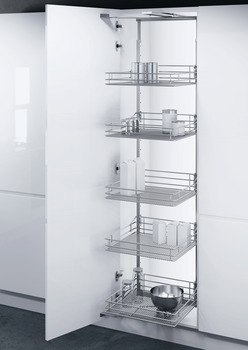 Swing Out Larder Unit , For Cabinet Width 500-600 mm, Saphir Mesh Chrome Wire Storage Baskets, Vauth-Sagel VS TAL Gate