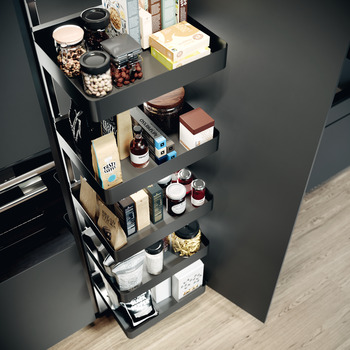 Swing Out Larder Unit , For Cabinet Width 500-600 mm, with Planero Lava Grey Storage Baskets,Vauth-Sagel VS TAL Gate N