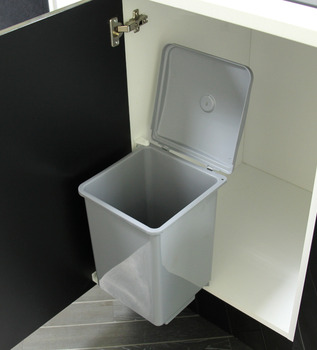 Swing Out Waste Bin, for Hinged Door Cabinets, Square Design, 13 Litres