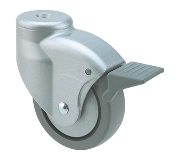 Swivel Single Wheel Castor, with Brake, Ø 80 mm, Ø 10 mm Pin Hole