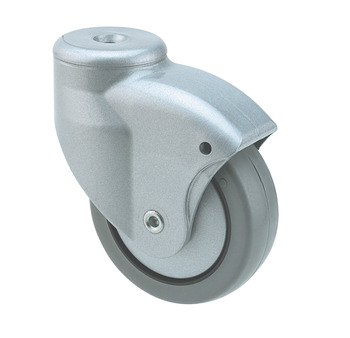 Swivel Single Wheel Castor, without Brake, Ø 80 mm, Ø 10 mm Pin Hole