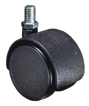 Swivel Twin Wheel Castor, Ø 40-50 mm, Hooded, M8 Thread Fixing