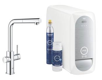 Tap, Dual Lever Monobloc Filter Tap For Chilled, Still or Sparkling Water, L-Spout, GROHE Blue Home CONNECT Duo