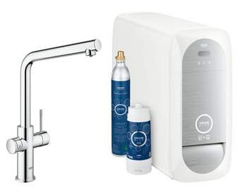 Tap, Dual Lever Monobloc Filter Tap, for Chilled Still or Sparkling Water, L-Spout, Grohe Blue® Home Duo Connect