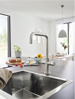 Tap, Dual Lever Monobloc Filter Tap, for Chilled Still or Sparkling Water, U-Spout, Grohe Blue® Home Duo Connect