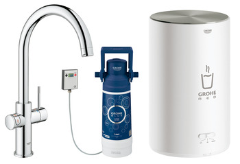 Tap, Instant Hot Water and Mixer, 3 Litres, C-Spout, Grohe Red II Duo