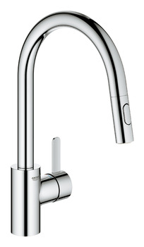 Tap, Single Lever Mixer, Pull Out Spray, C-Spout, Grohe Eurosmart Cosmo