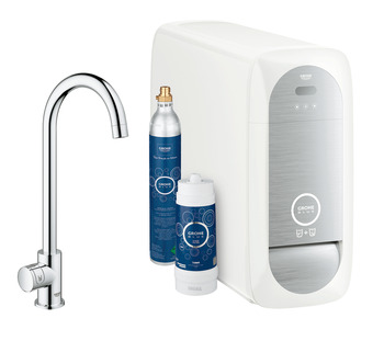Tap, Single Lever Monobloc Filter Tap, For Chilled Still or Sparkling Water, C-Spout, Grohe Blue® Home Mono