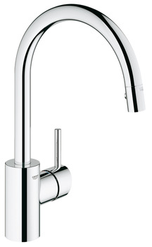 Tap, Single Lever Monobloc Mixer, Pull Out Spray, C-Spout, Grohe Concetto