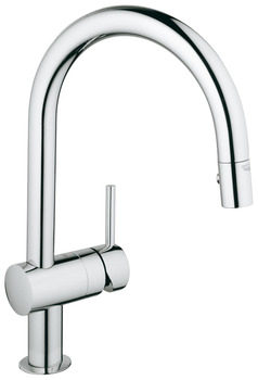 Tap, Single Lever Monobloc Mixer, Pull Out Spray, C-Spout, Grohe Minta