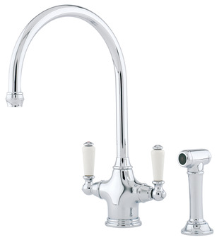 Tap, Traditional Dual Lever Monobloc, Separate Pull Out Spray, Perrin and Rowe Phoenician