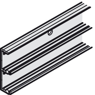 Top Guide Rail, Double, for Sliding Cabinet Doors, Eku-Combino L 40
