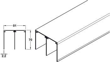 Top Track, Double, for Sliding Aluminium Framed Doors, Aluflex 80