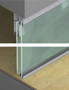 Top Track, for Sliding Glass Interior Doors with Fixed Glass Panel, Hawa-Junior 80/GL & 80/GP
