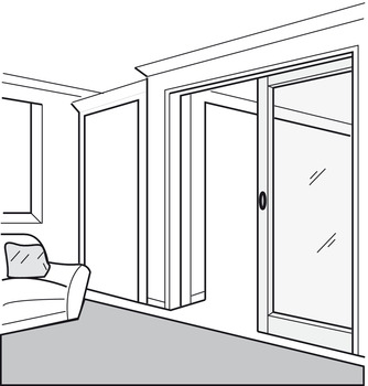 Top Track, for Sliding Interior Doors, Straightaway 100