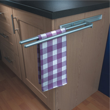 Towel Rail, with Two Arms, Silver Anodised Aluminium