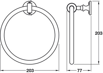 Towel Ring, Height 203 mm, Width 203 mm, Depth 77 mm, Carroll