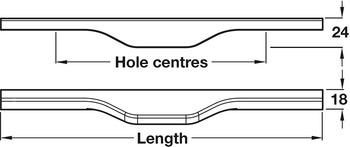 Trim Handle, Ash, Fixing Centres 294-594 mm , Ultra