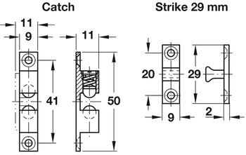Twin Ball Catch, for Screw Fixing