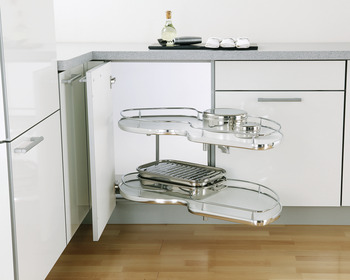 Twin Corner Pull Out Shelving Unit, White Base with Polished Chrome Rail, Vauth-Sagel
