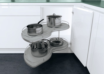 Twin Corner Pull Out Shelving Units, Grey Base with Silver Painted Rail