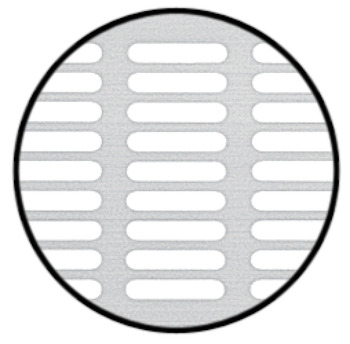 Ventilation Grille, for Recess Mounting with 20 x 3 mm Oval Slots Arranged in Parallel