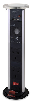 Vertical Powerdock, Rated IP54, 2x UK 13 Amp Sockets. 2x 2100 mA USB and Bluetooth Speaker, Requires Ø 92 mm Drilled Hole