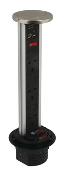 Vertical Powerdock, Rated IP54, 3 x UK 13 Amp Sockets and 2 x 700 mA USB Connectors, Max. 2400 mA Output