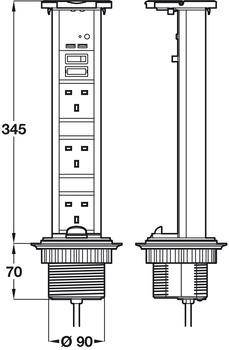 Vertical Powerdock, Rated IP54, 3 x UK 13 Amp Sockets and 2 x 700 mA USB Connectors, Requires Ø 92 mm Drilled Hole
